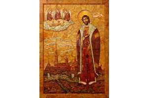 Святой Благоверный великий князь Александр Невский. Янтарь, дерево, металл, жемчуг, мамонтовая кость. 117×72 см